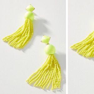 Anthropologie Beaded Tassel Drop Earrings